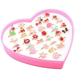 10Pcs/Bag Cute Cartoon Rings Little Girls Jewelry Kids Birth