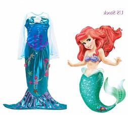 2018 Girls Little mermaid Dress Princes Gown kids Costume Pa
