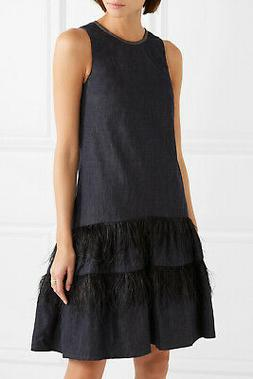 $2525 Brunello Cucinelli NWT Feather Trimmed Tiers Bead Embe