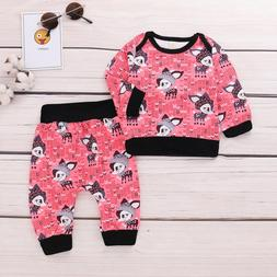 2pc toddler baby girls little fox print