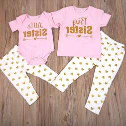 2PCS Big /Little Sister Kids Matching Clothes T-shirt Romper