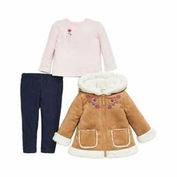 Little Me 3 Piece Set for Little Girls - Hooded Jacket-Long
