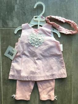 $30 LITTLE ME Baby Girl 3 Piece WOVEN TUNIC SET Pink NEW 9 M