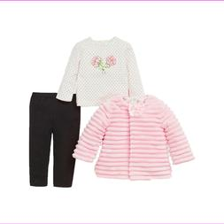 LITTLE ME 3pc Set Girl's Pink Ribbed jacket Black pant 12m N