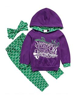 Gogoboi 3pcs Mermaid Outfit Set Long Sleeve Hoodie Top+Pants