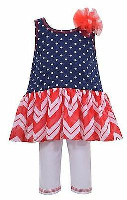 Bonnie Jean 4th July Toddler Little Girls American Flag Red