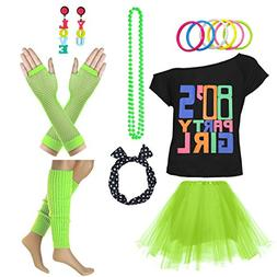 80's Party Girl Retro Costume Accessories Outfit Dress for 1