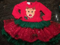 Emily Rose Adorable Christmas Reindeer Holiday Party Dress L