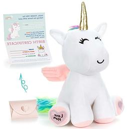 "Adorable Unicorn Stuffed Animal Plush Toy - Cute 13"" Large W"