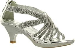 Angel 41K Little Girls Rhinestone Heel Platform Dress Sandal