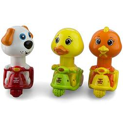 Animal Duck, Dog, Rooster  Push and Go Friction Powered Car