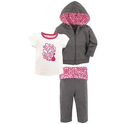 Yoga Sprout Baby 3 Piece Jacket, Top and Pant Set, Peacock T