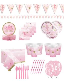Baby Girl Pink Star 1st Birthday Party Supplies Decorations