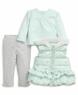 Little Me Baby Girls Aqua Heart 3-Piece Vest Jacket Tee Legg