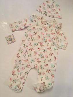 Little Me Baby Girls Coverall Hat Outfit Size 3 6 9 Months I
