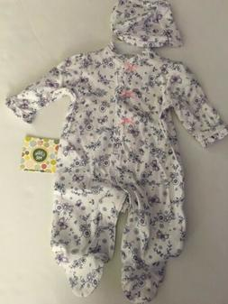 Little Me Baby Girls Coverall Hat Outfit Size 3 6 9 Months W