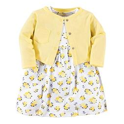 Luvable Friends Baby Girls Dress Cardigan Set, Yellow Floral