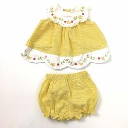 Little Bitty Baby Girls Dress Size 3-6 Mos Yellow Seer Sucke