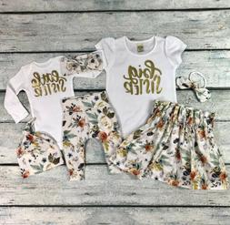 Baby Girls Matching Clothes Little/Big Sister Tops Romper Pa
