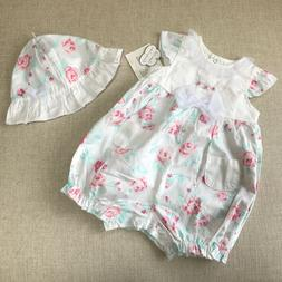 Little Me Baby Girls Pink Roses Flowers Romper Fanciful Flow