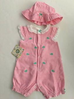 Little Me Baby Girls Romper Hat Outfit Set Size 3 6 9 Months