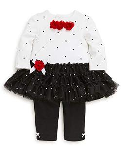 Little Me Baby Girls Tutu Legging Set, Rose dots White/Racin