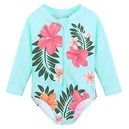 baby toddler girl swimsuit rashguard swimwear long