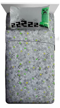 Minecraft Bedding Sheet Set - Pillow Case, Fitted Sheet, and