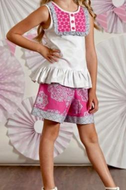 Boutique Peaches N Cream Royal Gem Top & Shorts Set Little G