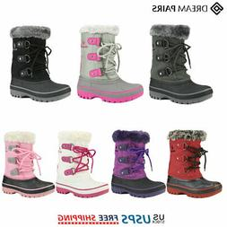 DREAM PAIRS Kids Boys Girls Faux Fur-Lined Ankle Winter Wate