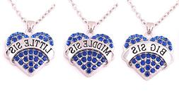 Charm.L Grace Matching Necklaces Set, blue-3pcs