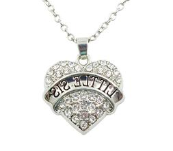 Charm.L Grace Matching Necklaces White Crystal Heart Necklac