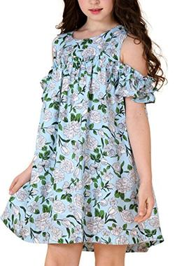 AuroraBaby Chiffon Cold Shoulder Hawaiian Dresses for Girls