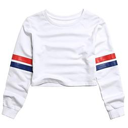 Crop Sweatshirts for Teens Girls 80s 90s Cropped Tops for Wo