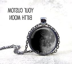 Your Custom Birth Moon Necklace or Key Chain Charm - Persona