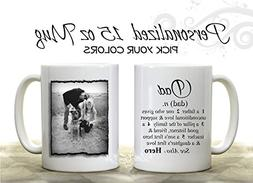 Custom Photo Novelty Coffee Mug with Dad Dictionary Definiti