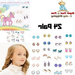 Cute Animals Hypoallergenic Stud Earrings Set Gift For Kids