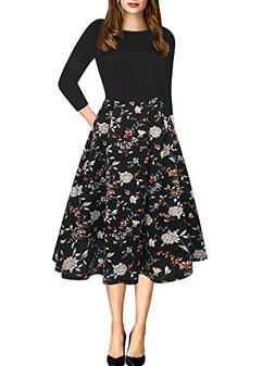 oxiuly Women's Elegant 3/4 Sleeve Floral Patchwork with Pock