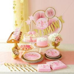 FIRST BIRTHDAY TWINKLE LITTLE STAR PINK  - Party Supplies,Ta