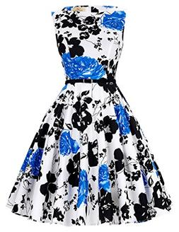 GRACE KARIN Floral 1960 Vintage Swing Dresses Women Sleevele