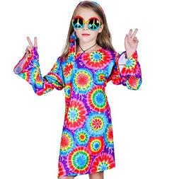 Girl's 60s 70s Flower Hippie Costume Fancy Dress )