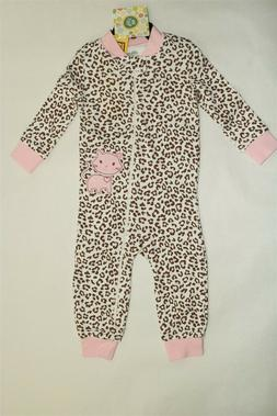 LITTLE ME Girl's Zip Front Sleeper Outfit Animal Print 18 Mo