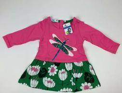 Little Bitty-Girls 2-3yrs Long Sleeve Pink/ Green Dragonfly