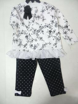 Little Me Girls 2 Piece Set White/Black US Size 18M NWT
