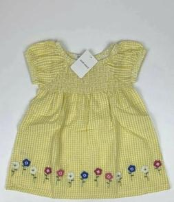 Little Bitty- Girls 2T Short Sleeve Yellow/ Floral Blouse