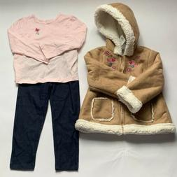 little me girls 3-piece jacket top pant outfit set tan 3t nw