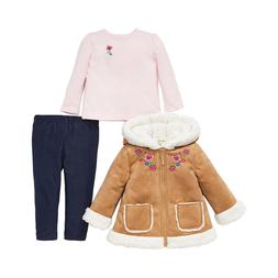 Little Me Girls 3-Piece Jacket, Top, Pant Outfit Set