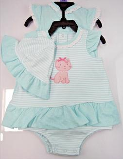 Little Me Girls 3 piece Set - Aqua