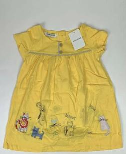 Little Bitty- Girls 3T Yellow Short Sleeve Kitten Dress