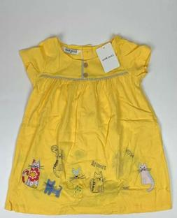 Little Bitty- Girls 4T Yellow Short Sleeve Kitten Dress